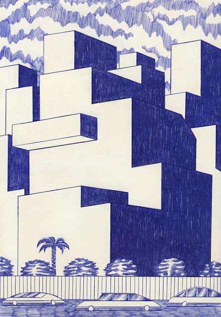 """Buildings"" por Kevin Lucbert | dibujos geometricos artisticos, imagenes chidas, cool art drawings"