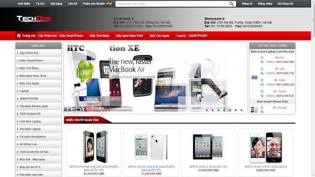 Thiết kế website bán hàng điện thoại máy tính laptop
