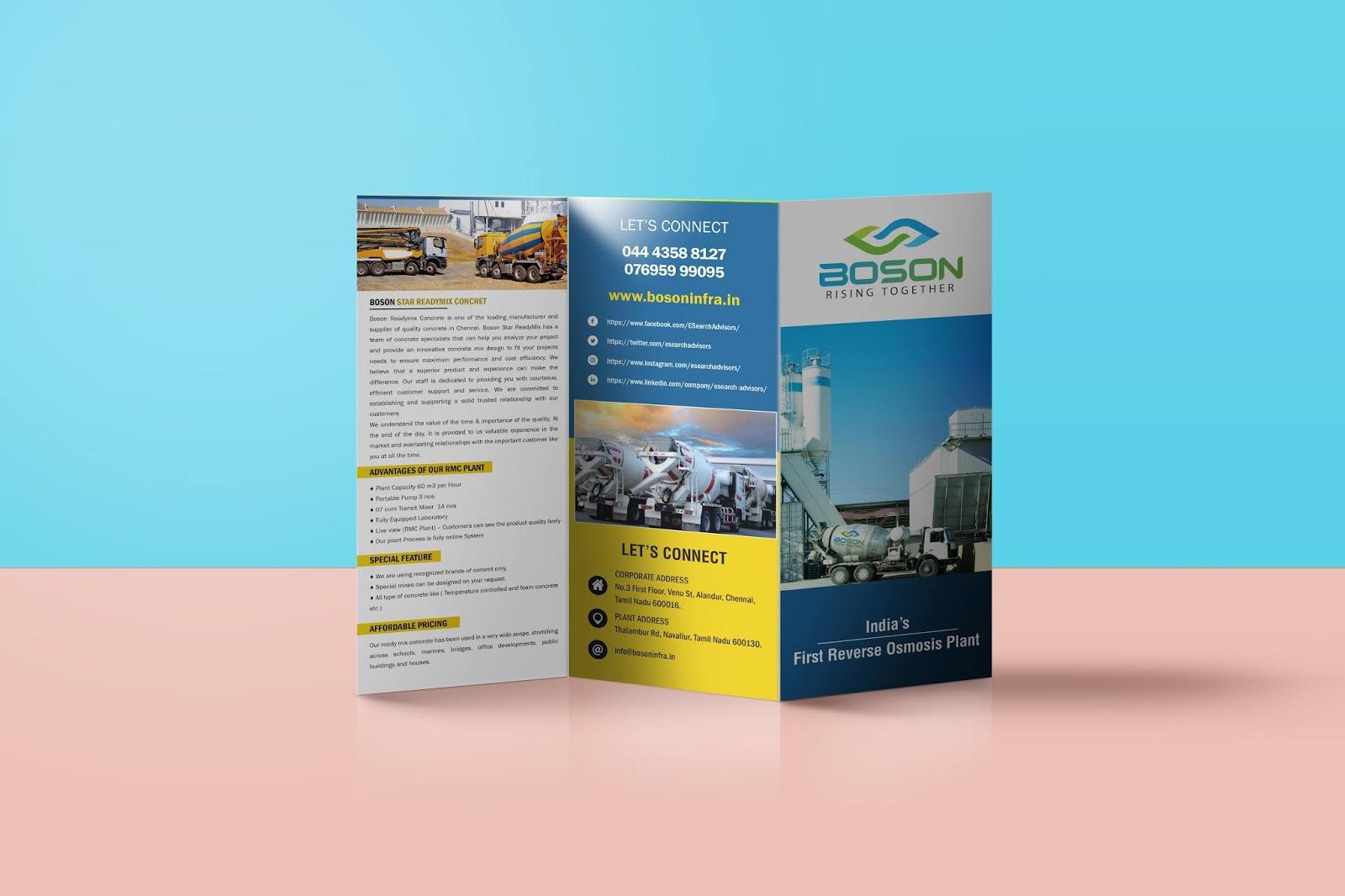 sathya boson infra tri fold brochure design