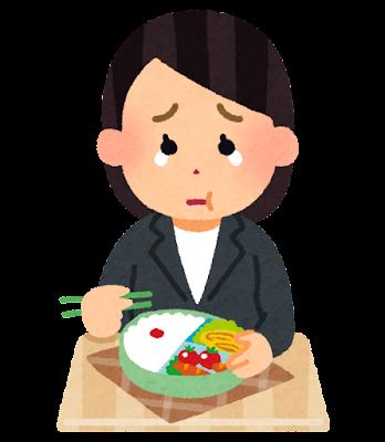 泣きながらお弁当を食べる人のイラスト(女性会社員)