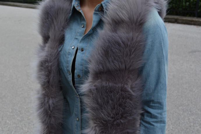 Denim Shirt Blouse, TrendyFine, Grey Faux Fur Vest, Faux Fur, PU Leggings, Guess Glitter Sneakers