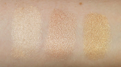 Becca Shimmering Skin Perfector Pressed Powder Moonstone Champagne Pop Prosecco pop comparison vs swatch swatches