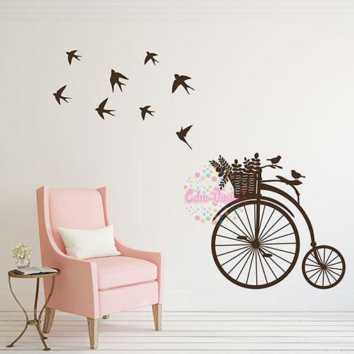 Vinilo decorativo bicicleta antigua con pajaros w419 for Vinilos de pared juveniles