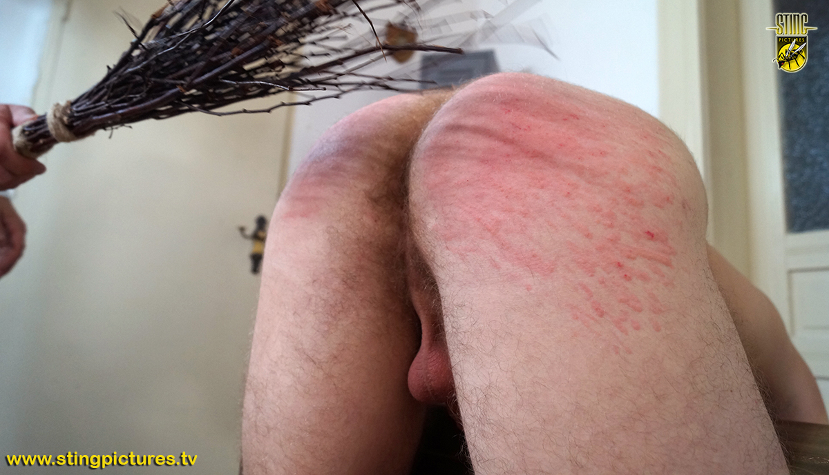 Spanking to a burning red ass 4