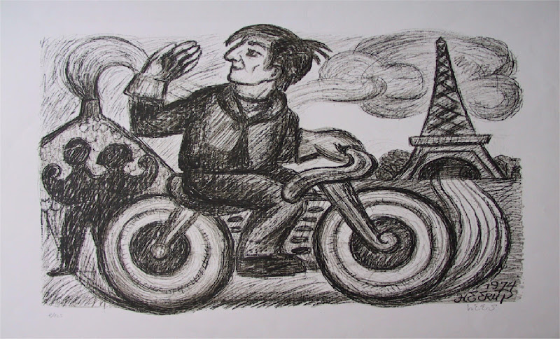 Asger Jorn's riding his BSA