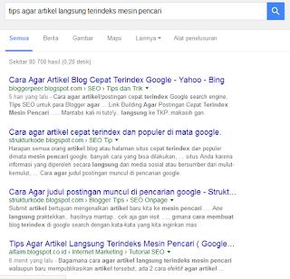 tips agar artikel langsung terindeks oleh mesin pencari