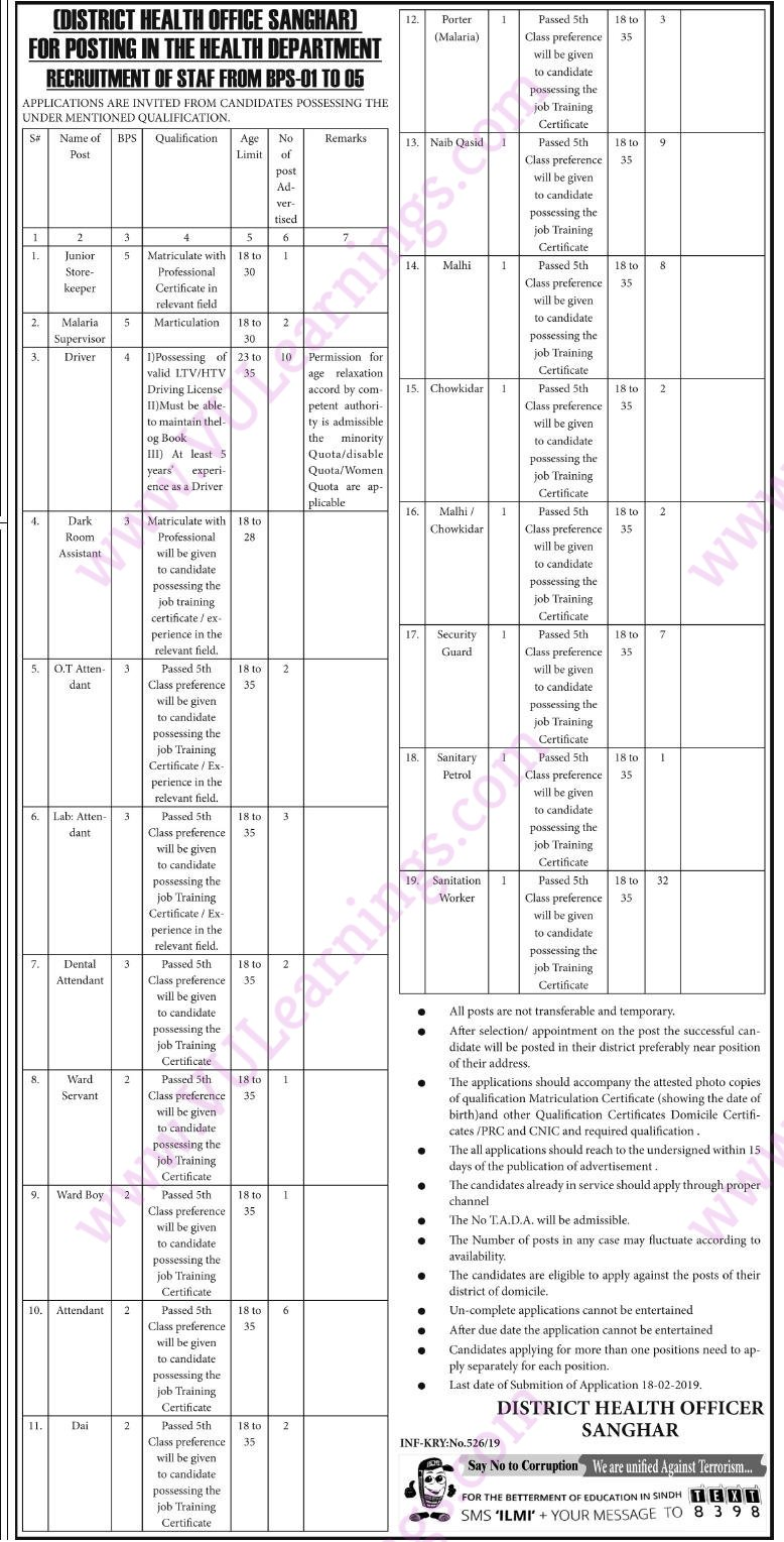 DISTRICT HEALTH OFFICE SANGHAR FOR POSTING IN THE HEALTH DEPARTMENT