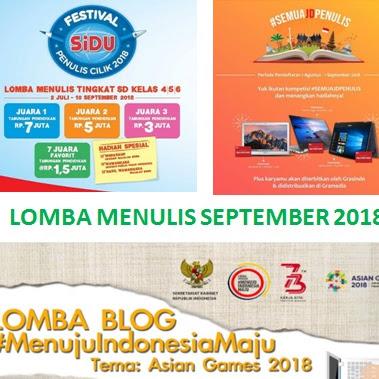 Daftar Lomba Menulis September 2018