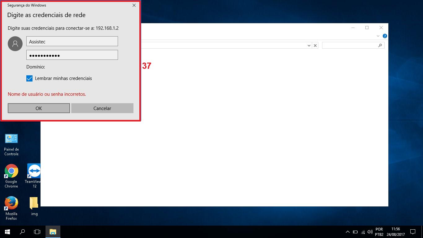"""37 - Caso o PC em que está instalado a impressora e que você compartilhou tenha usuário e senha, digite esses dados, marque a caixinha """"Lembrar minhas credenciais"""" e depois clique em """"Ok""""."""