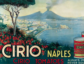 A poster from the early part of the 20th century advertising Cirio's most famous product