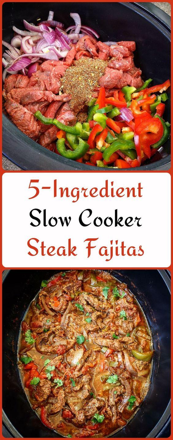 5 INGREDIENT SLOW COOKER STEAK FAJITAS