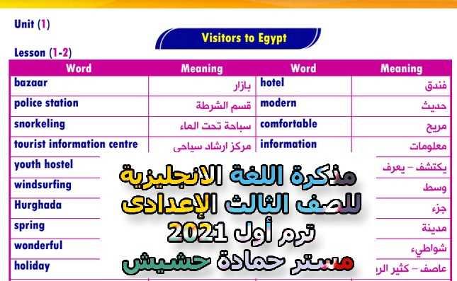 مذكرة اللغة الانجليزية للصف الثالث الإعدادى ترم أول 2021 مستر حمادة حشيش