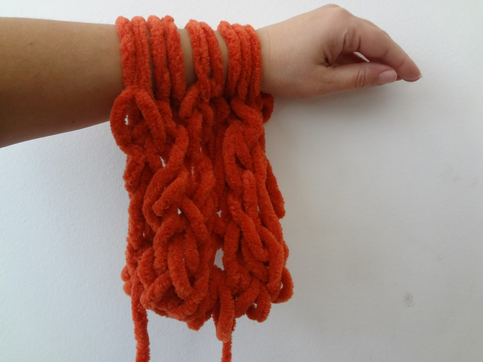 Hand Knitting With Arms : Little treasures arm knitting orange scarf