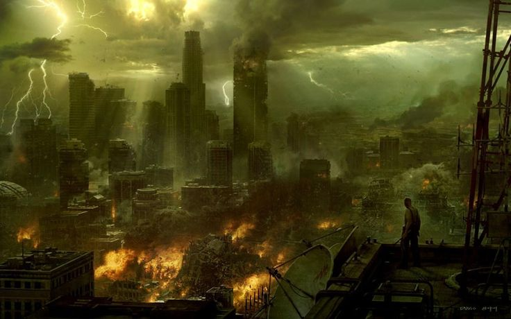 Ciudad distópica en la que se puede ver a una persona subida en un tejado.