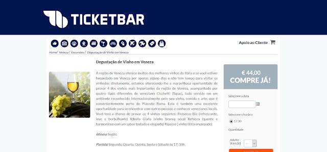 Ticketbar para ingressos para degustação de vinho em Veneza