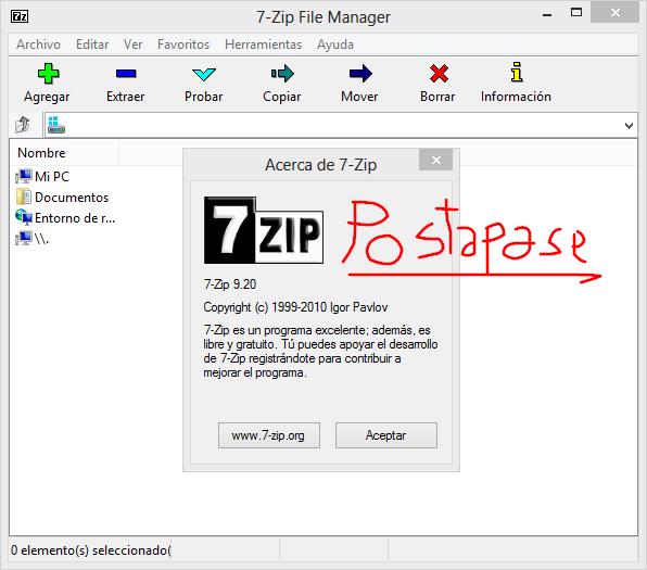 postapase: (7Zip y PeaZip) vs (Winzip y Winrar)