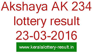 Kerala Akshaya Lottery result today, Akshaya AK234 lottery result, Kerala Today's Lottery Akshaya AK 234 result, Check Kerala Akshaya-AK 234 Lottery result, Akshaya LOttery result 23/03/2016, Kerala lottery result, Akshaya Lottery result, Akshay AK-234 lottery result, Todays Akshaya Ak234 Lottery result, Kerala lotteries Akshaya AK 234 result