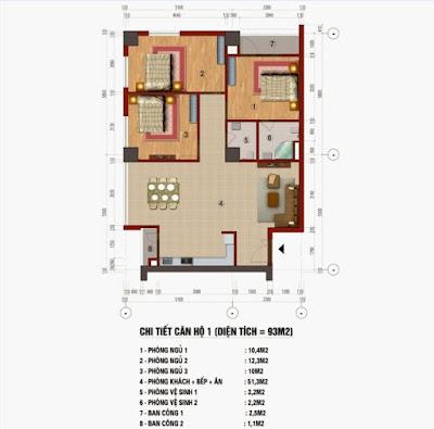 Mặt bằng căn hộ 93 mét tòa CT1 trung văn vinaconex3.