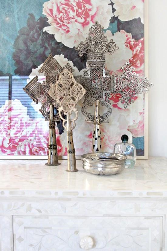 Safari Fusion blog | Ethiopian Crosses | Lovely cross display against a floral backdrop