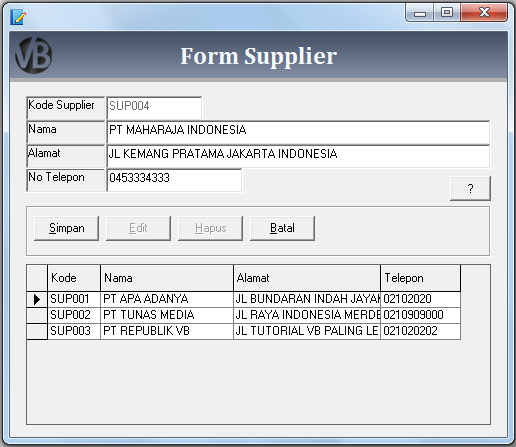 Membuat Form Supplier VB 6.0 - Belajar VB