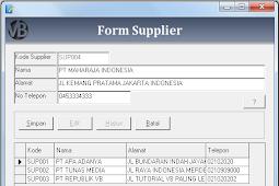 Tutorial Membuat Form Input Supplier Program Aplikasi Penjualan VB 6.0 - Part8
