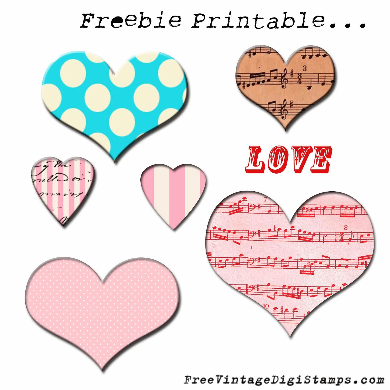 **FREE ViNTaGE DiGiTaL STaMPS**: Freebie Printable - Hearts