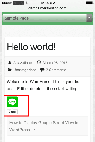 LINE share for WordPress