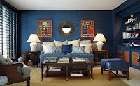 sala en marrón y azul