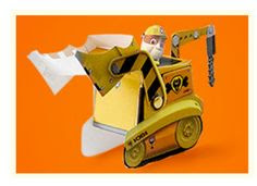 Free Printable 3D Paper: Paw Patrol Rubble's yellow bulldozer. Hecho. Hecho