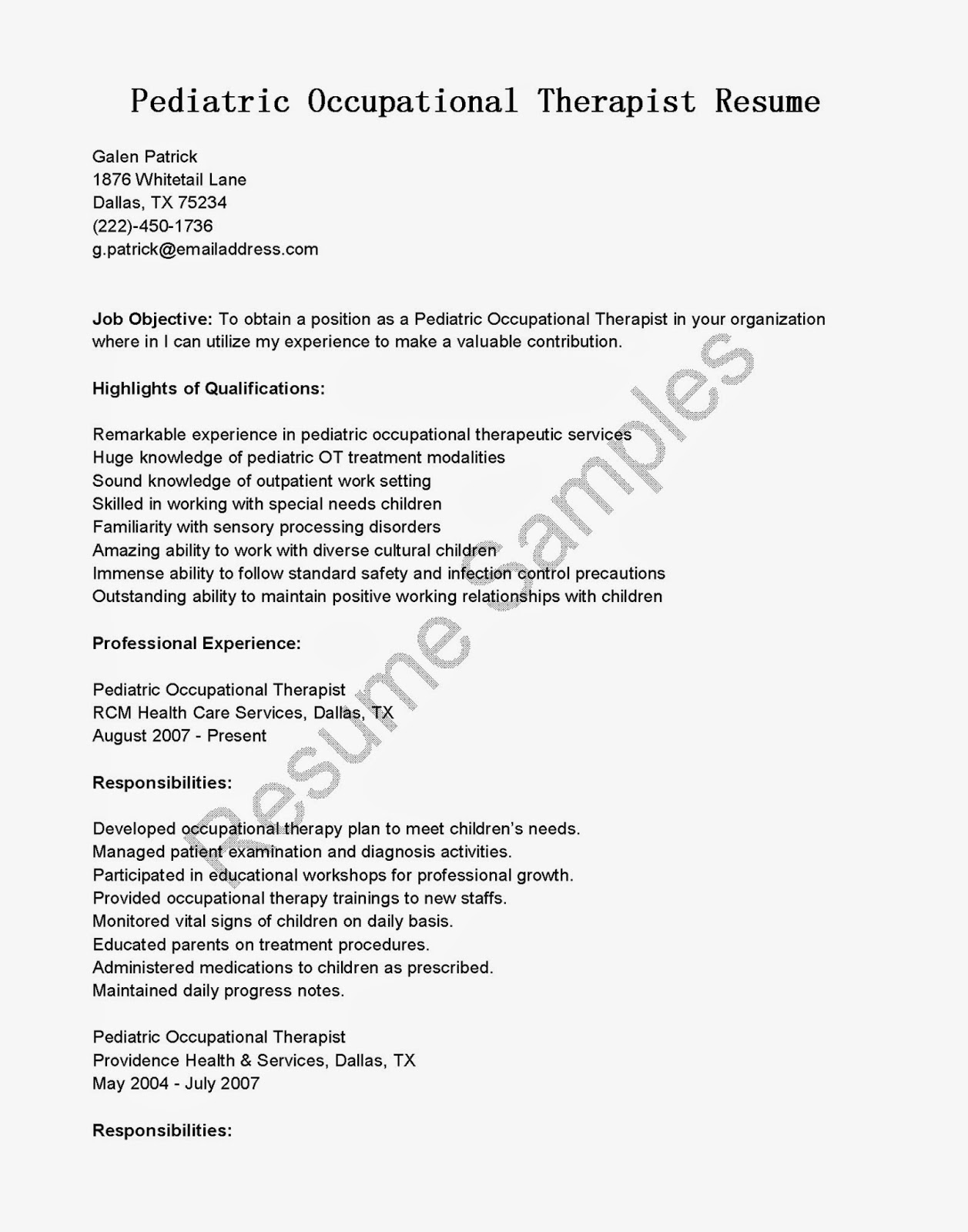 Occupational Therapy Resume Template Resume Samples Pediatric Occupational Therapist Resume