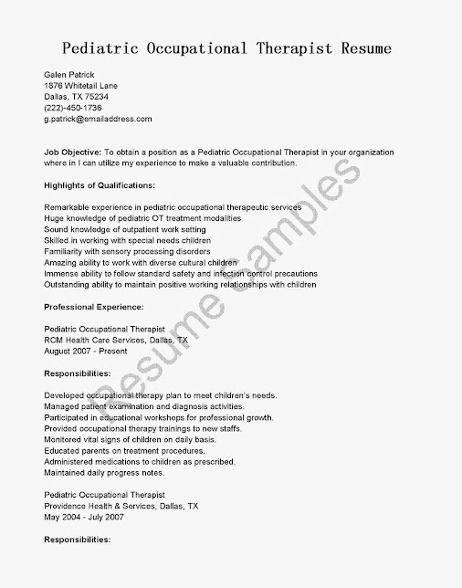 sample resume occupational therapist occupational therapy resume