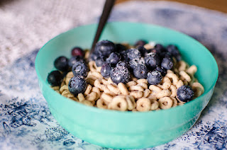 Bowl of Cheerios with Blueberries
