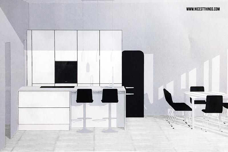 Offene Loft-Küche mit Kücheninsel in Weiß und Schwarz