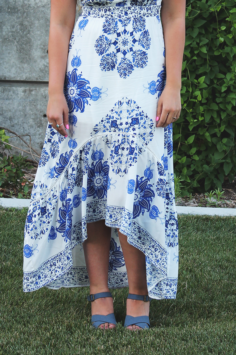 maxi dress, china plate print dress, summer dress