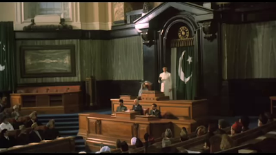 Christopher Lee as Muhammad Ali Jinnah, addressing the National Assembly, Directed by Jamil Dehlavi