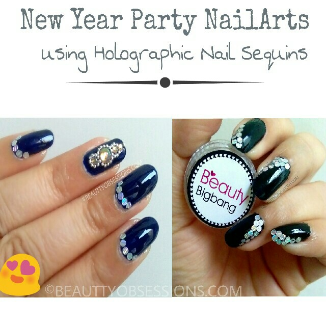 New Year Party NailArts using Beautybigbang Holographic Nail Sequins