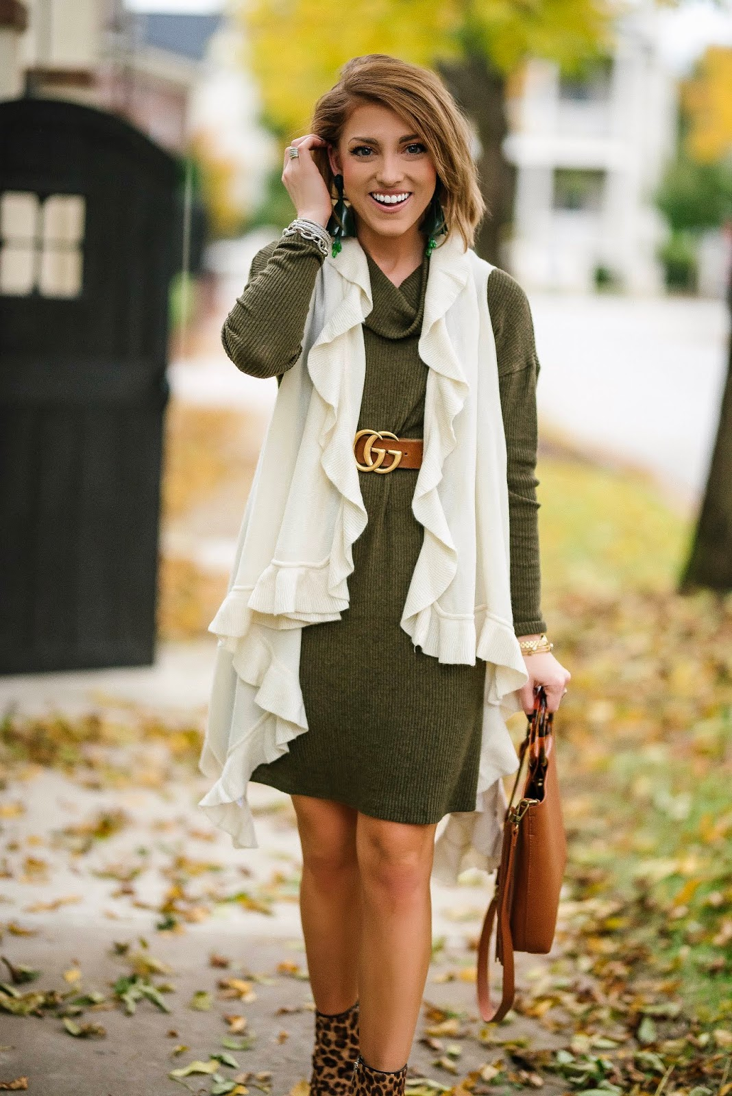 What to wear on Thanksgiving Day: Under $50 Olive Green Dress, Ruffle Vest and Leopard Booties - Something Delightful Blog