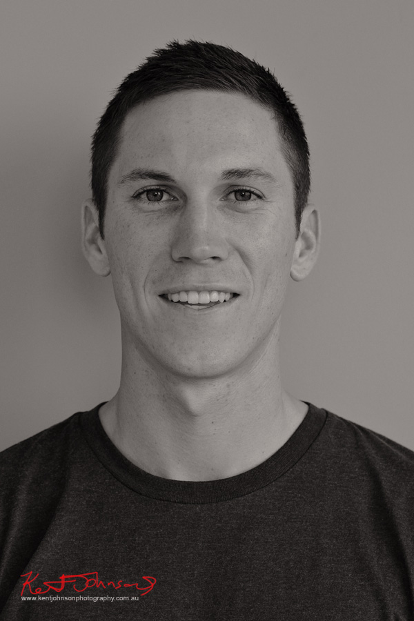 Black and White 'agency digitals' headshot - studio modelling portfolio by Kent Johnson.