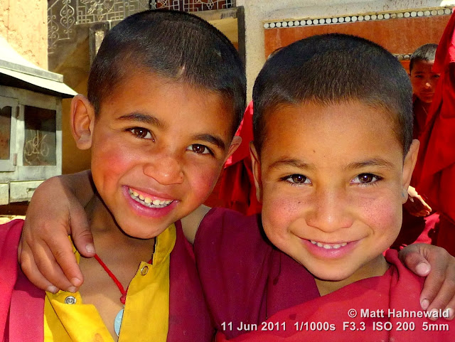 people, street portrait, double portrait, young Tibetan Buddhist monks, boy monks, Tibetan Buddhism, Phyang Gompa monastery, Leh, Ladakh, Northern India, Facing the World, © Matt Hahnewald