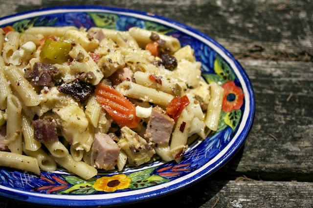 Beef and pasta salad Barley