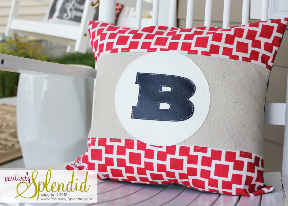 Diy monogram pillows with vinyl applique positively splendid