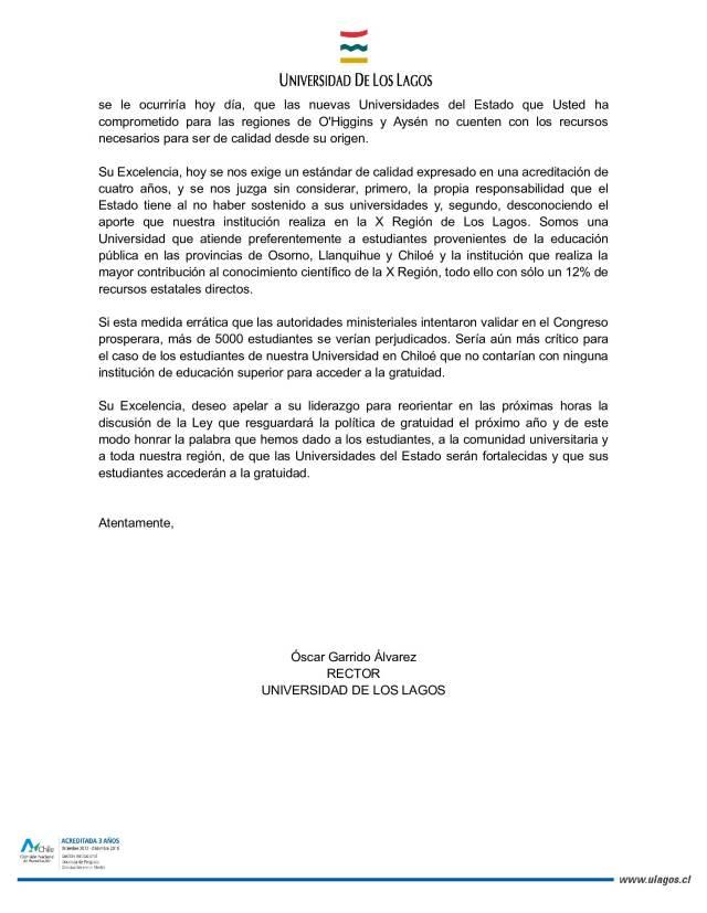 Carta del rector de la universidad de los lagos a presidenta carta que el rector de la universidad de los lagos entreg al gobernador de la provincia de osorno el medioda de este jueves 17 de diciembre thecheapjerseys Choice Image