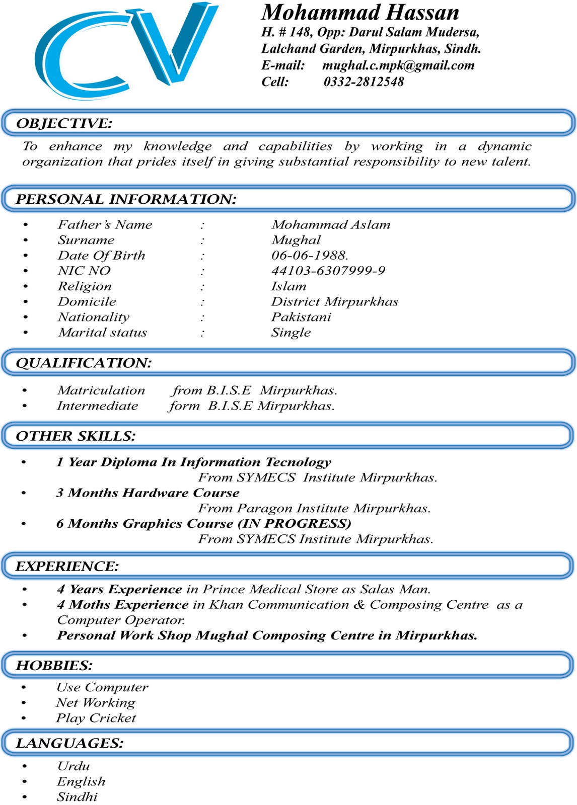 Format of cv for fresh graduates , Admission Essay Writing from ...