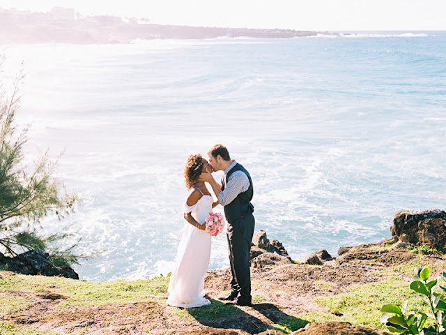Maui wedding couple on the cliffs edge