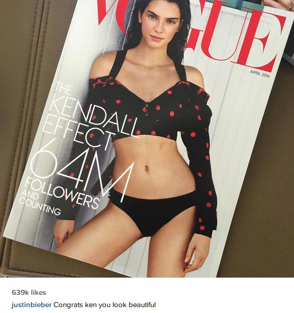 Justin Beiber Compliments Kendall Jenner As She Covers Vogue Magazine