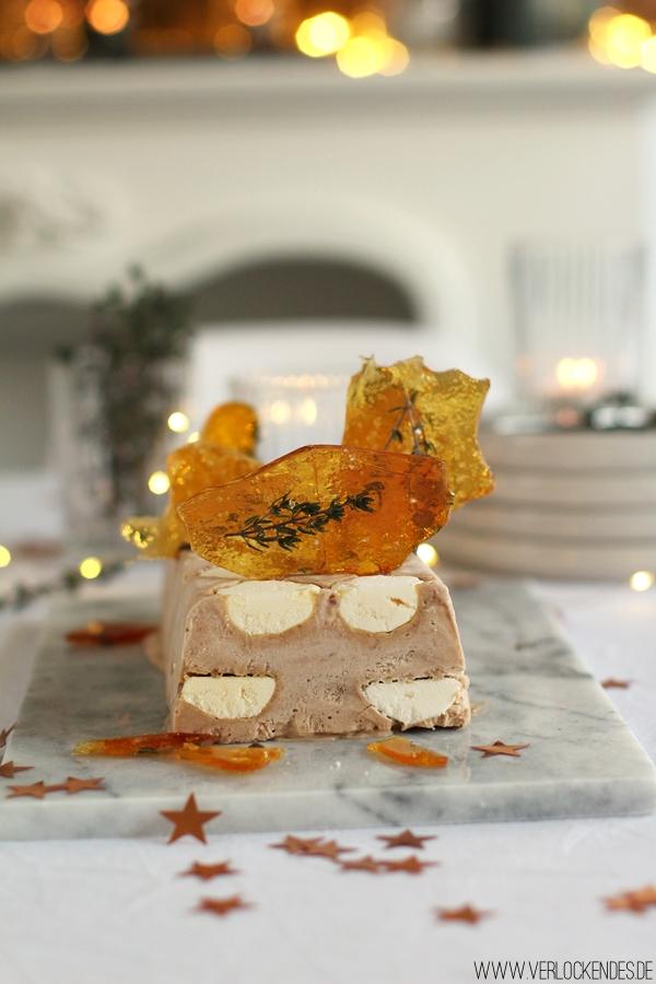 Maronenparfait Karamell Fleur de Sel Thymian Rezepte Weihnachten Dessert