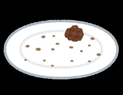お皿に一つだけ余った食べ物のイラスト