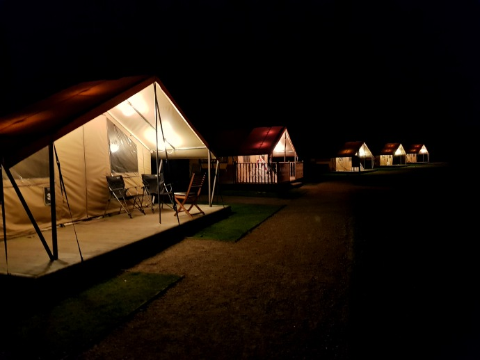 glamping at night, ready camp