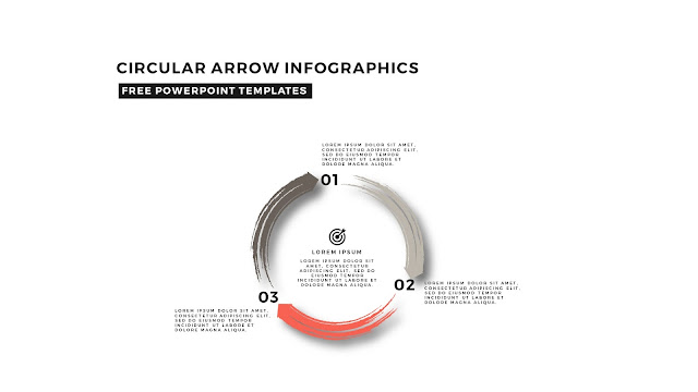 Circular Brush Stroke and Arrow Infographic Free PowerPoint Template Slide 6
