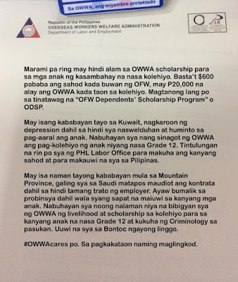 OWWA restores hope of an OFW from Mt  Province by giving